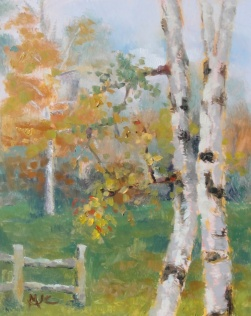 Birches in the Fall 2013 10x8 oil on board